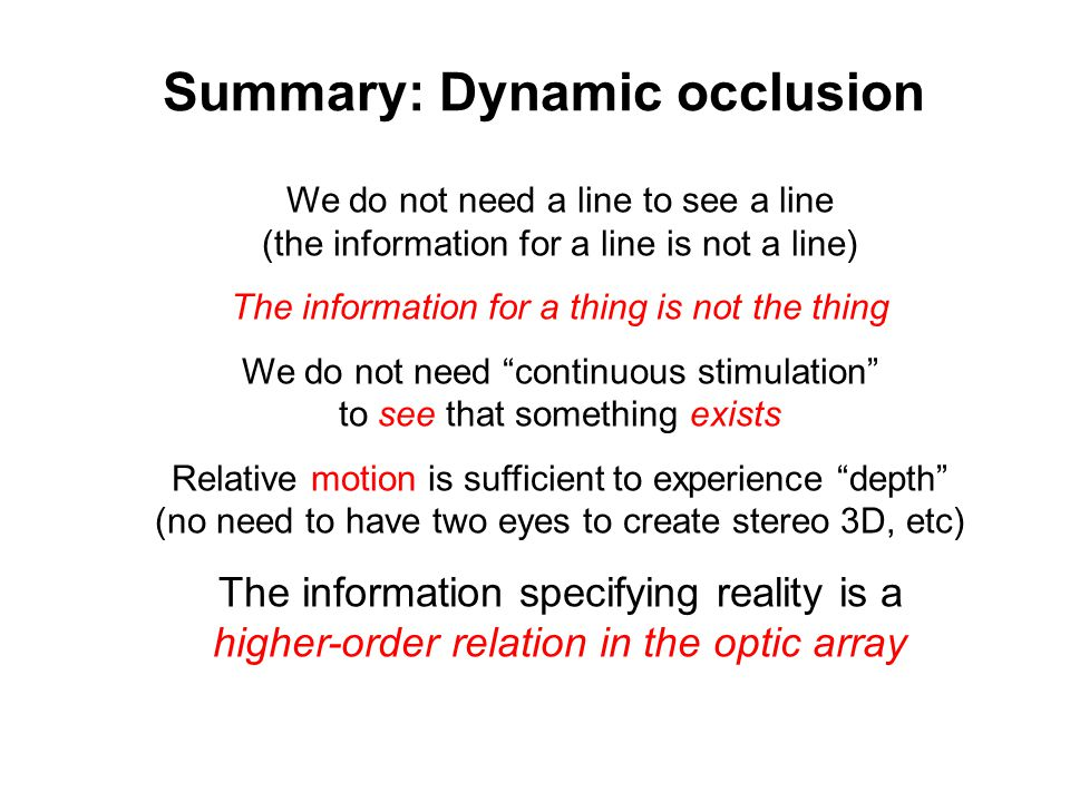 Summary: Dynamic occlusion
