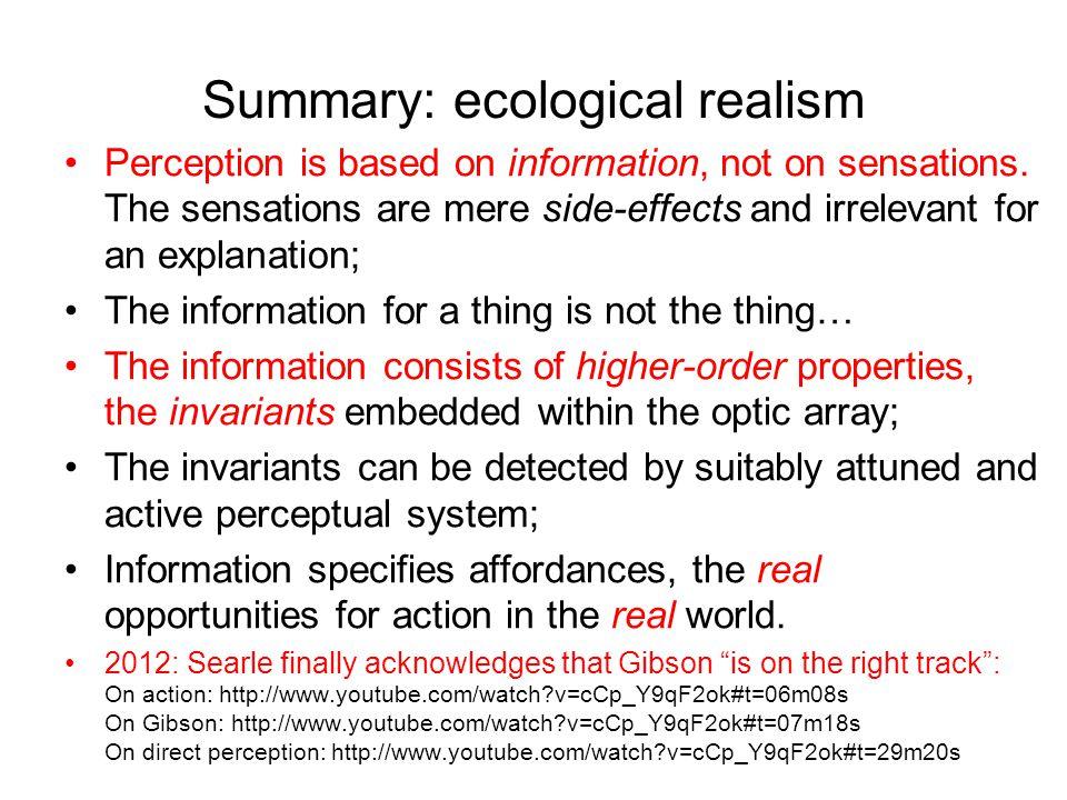 Summary: ecological realism