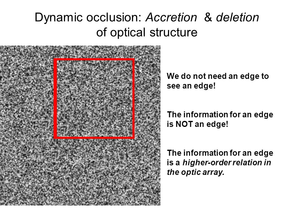 Dynamic occlusion: Accretion & deletion of optical structure
