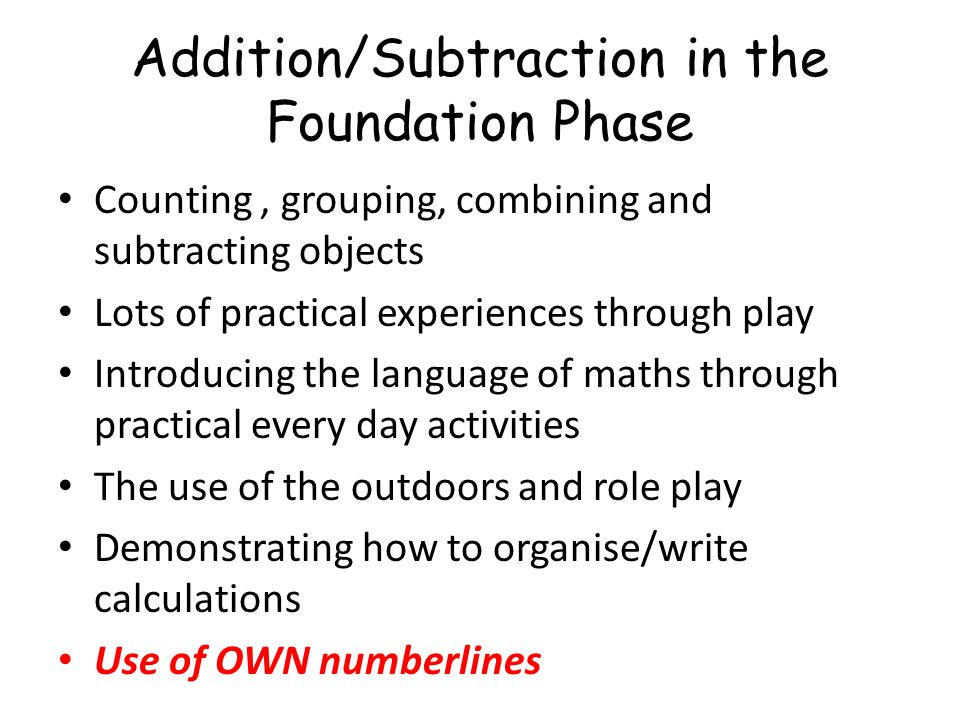 Addition/Subtraction in the Foundation Phase