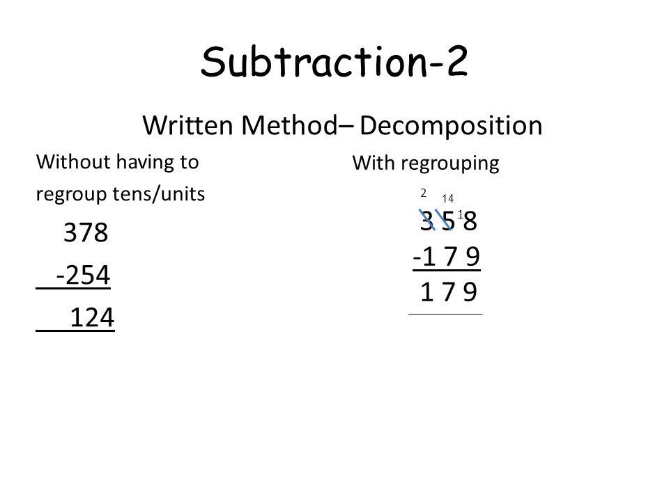 Written Method– Decomposition
