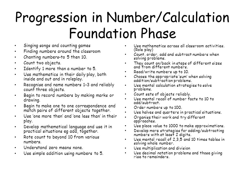 Progression in Number/Calculation Foundation Phase