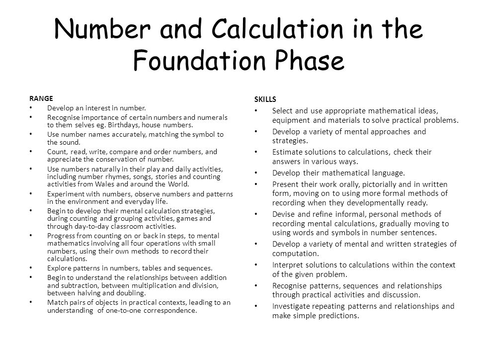 Number and Calculation in the Foundation Phase