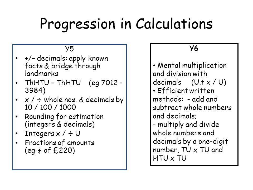 Progression in Calculations