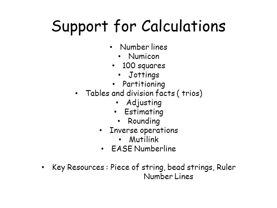 Support for Calculations