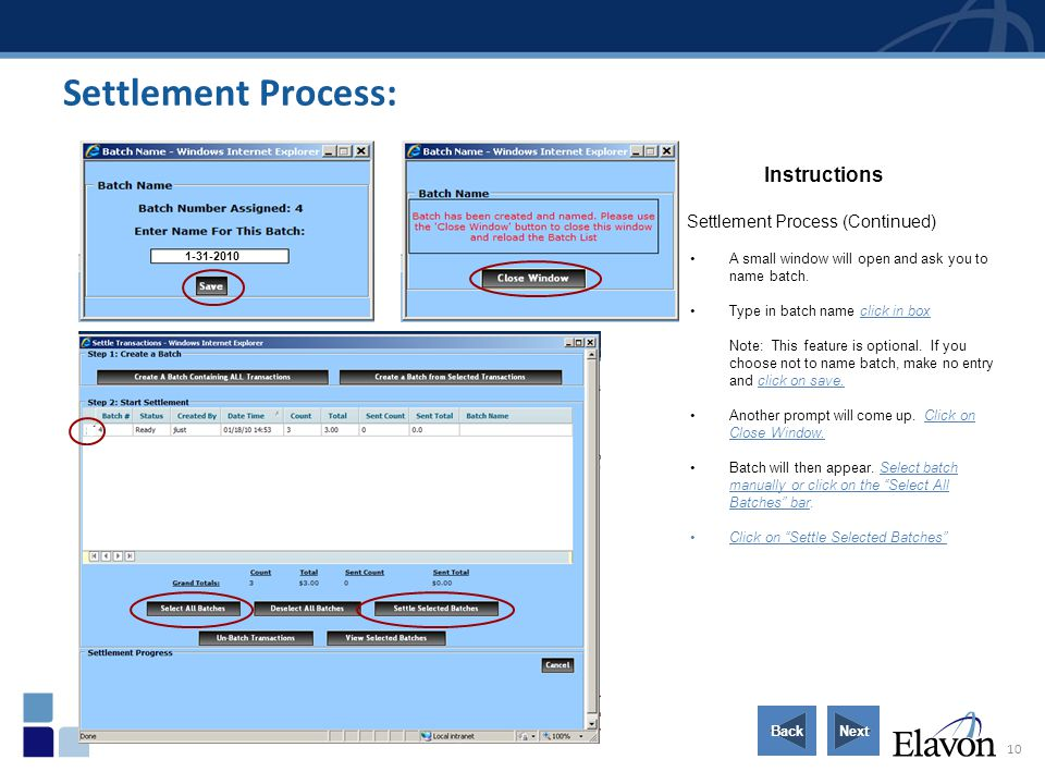 Settlement Process: Instructions Settlement Process (Continued)