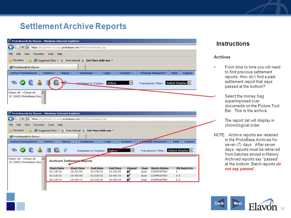 Settlement Archive Reports
