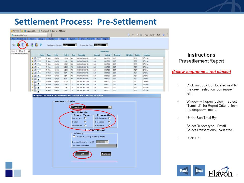 Settlement Process: Pre-Settlement