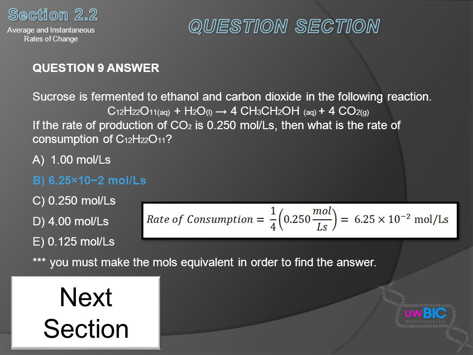Next Section QUESTION SECTION Section 2.2 QUESTION 9 ANSWER
