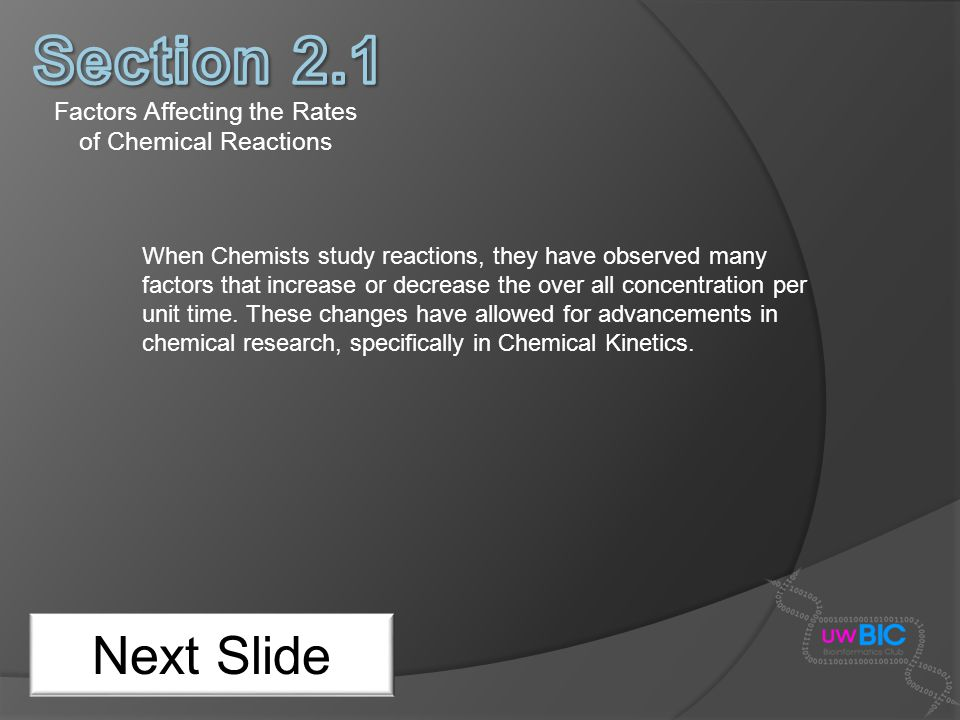 Factors Affecting the Rates of Chemical Reactions