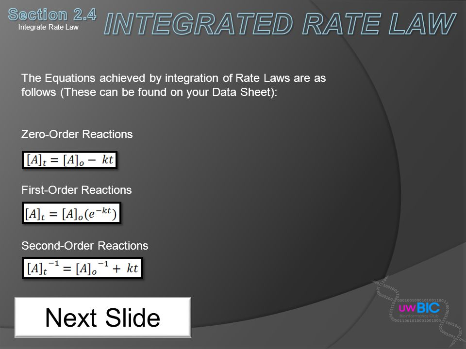 INTEGRATED RATE LAW Next Slide Section 2.4