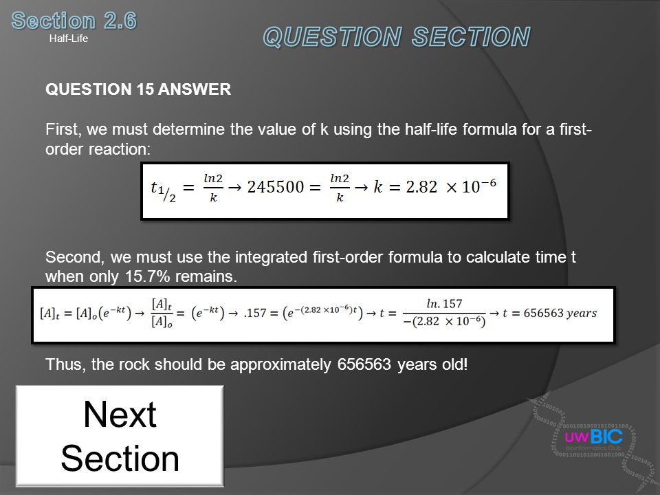 Next Section QUESTION SECTION Section 2.6 QUESTION 15 ANSWER