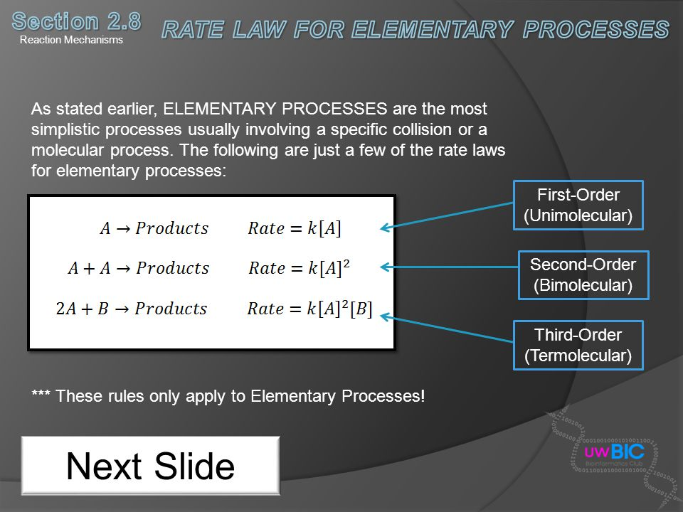 RATE LAW FOR ELEMENTARY PROCESSES