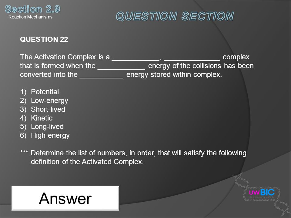 Answer QUESTION SECTION Section 2.9 QUESTION 22