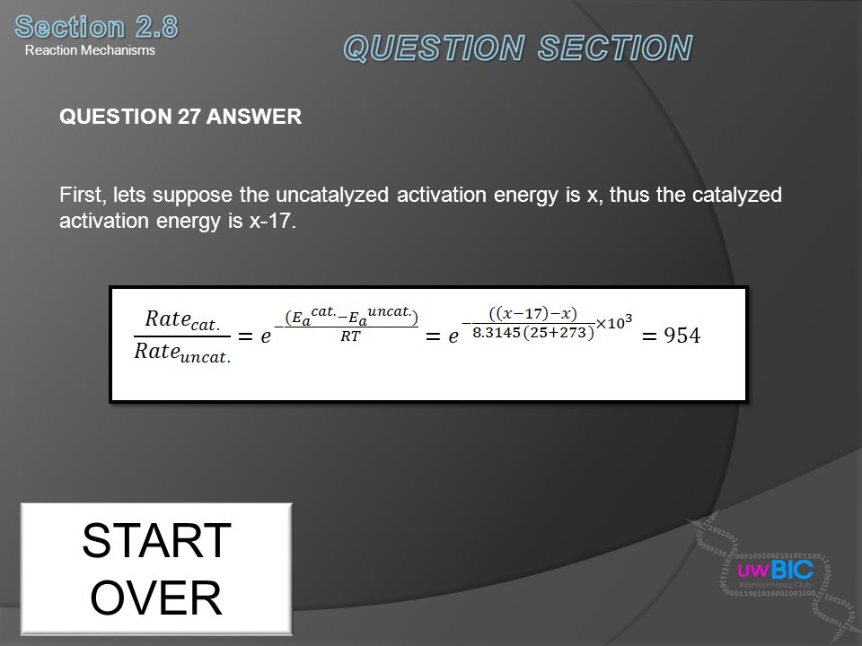 START OVER QUESTION SECTION Section 2.8 QUESTION 27 ANSWER