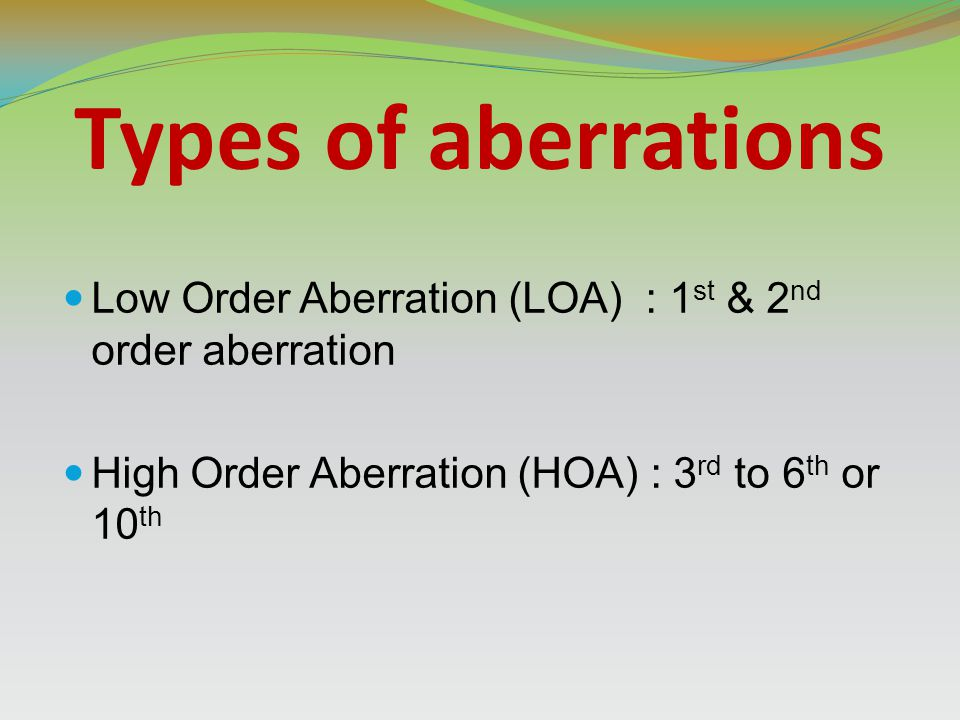 Types of aberrations Low Order Aberration (LOA) : 1st & 2nd order aberration.