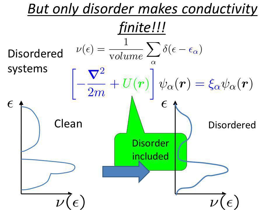 But only disorder makes conductivity finite!!!