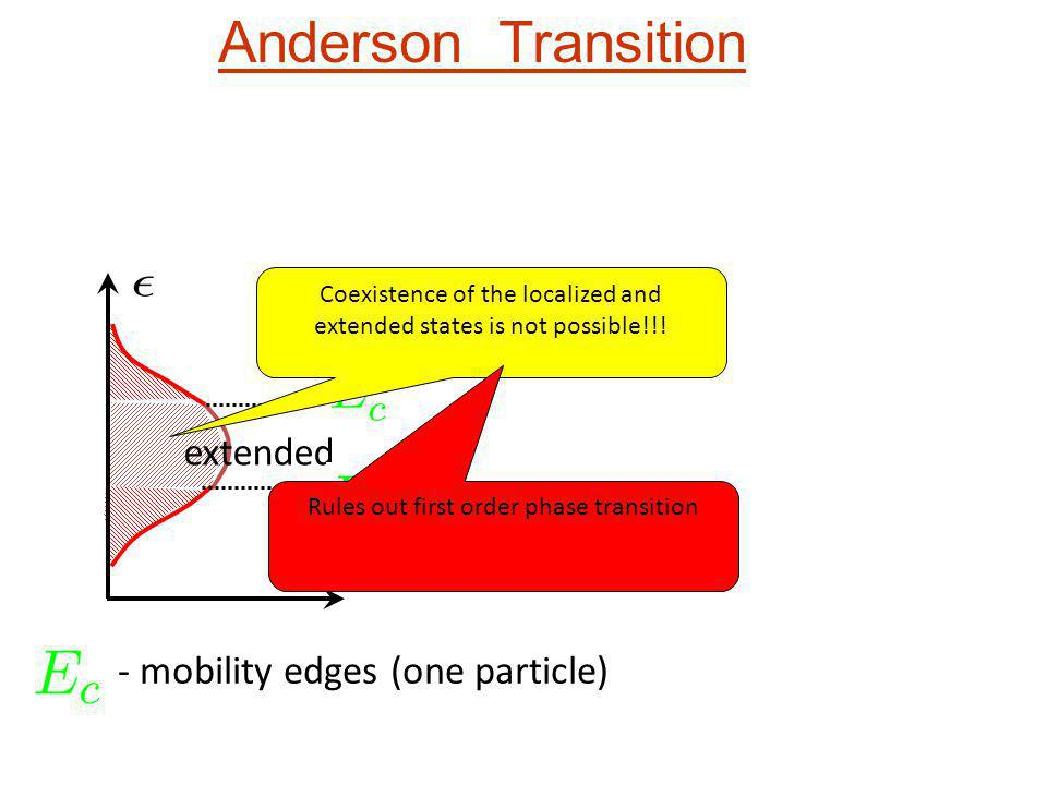 Anderson Transition extended - mobility edges (one particle)