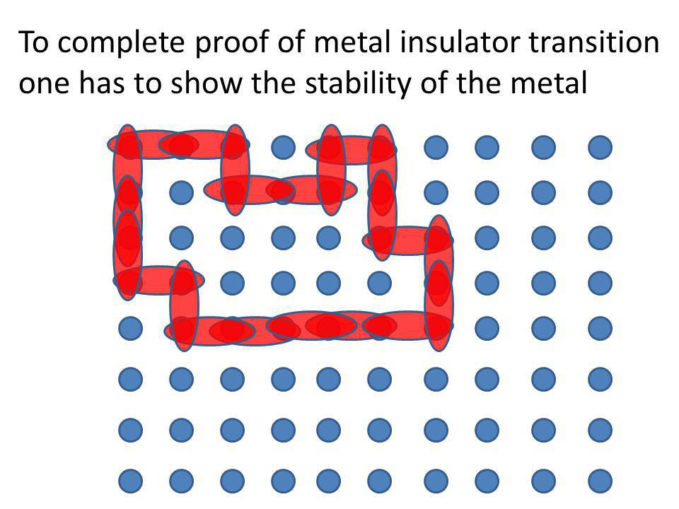 To complete proof of metal insulator transition