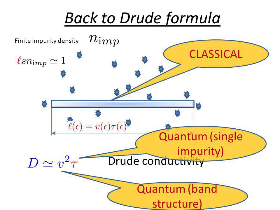 Back to Drude formula CLASSICAL Quantum (single impurity)