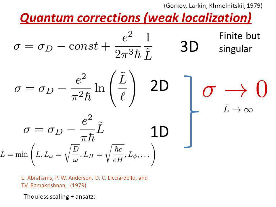 Quantum corrections (weak localization)