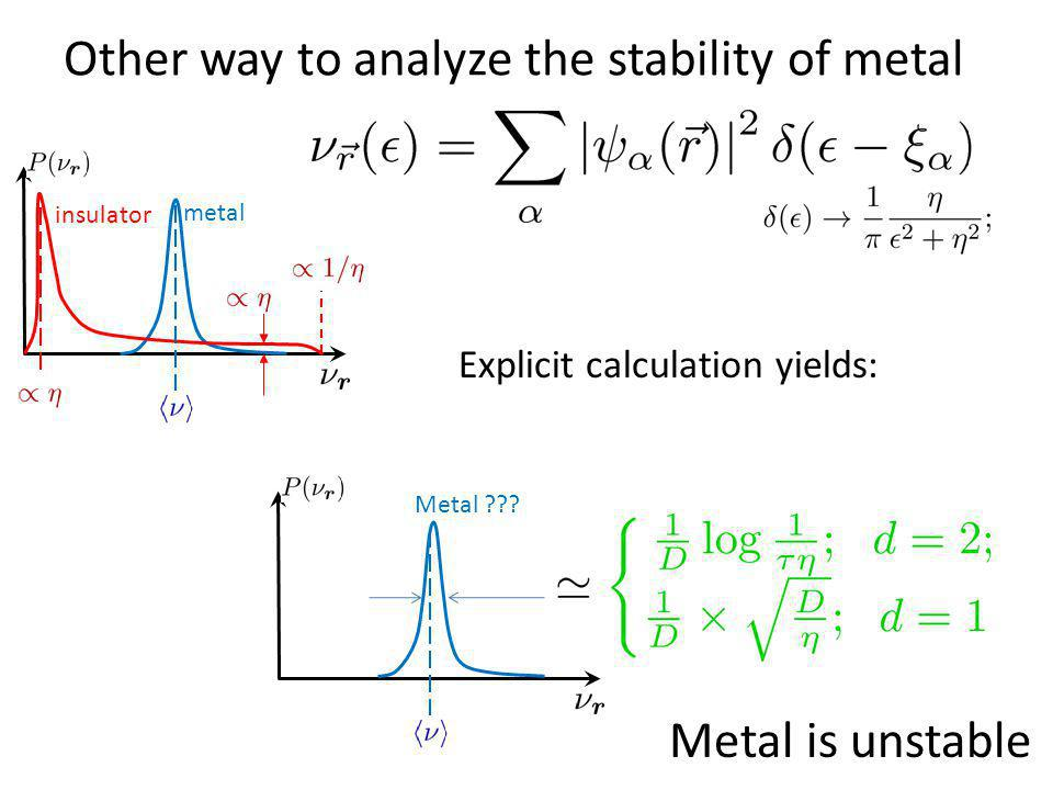 Other way to analyze the stability of metal