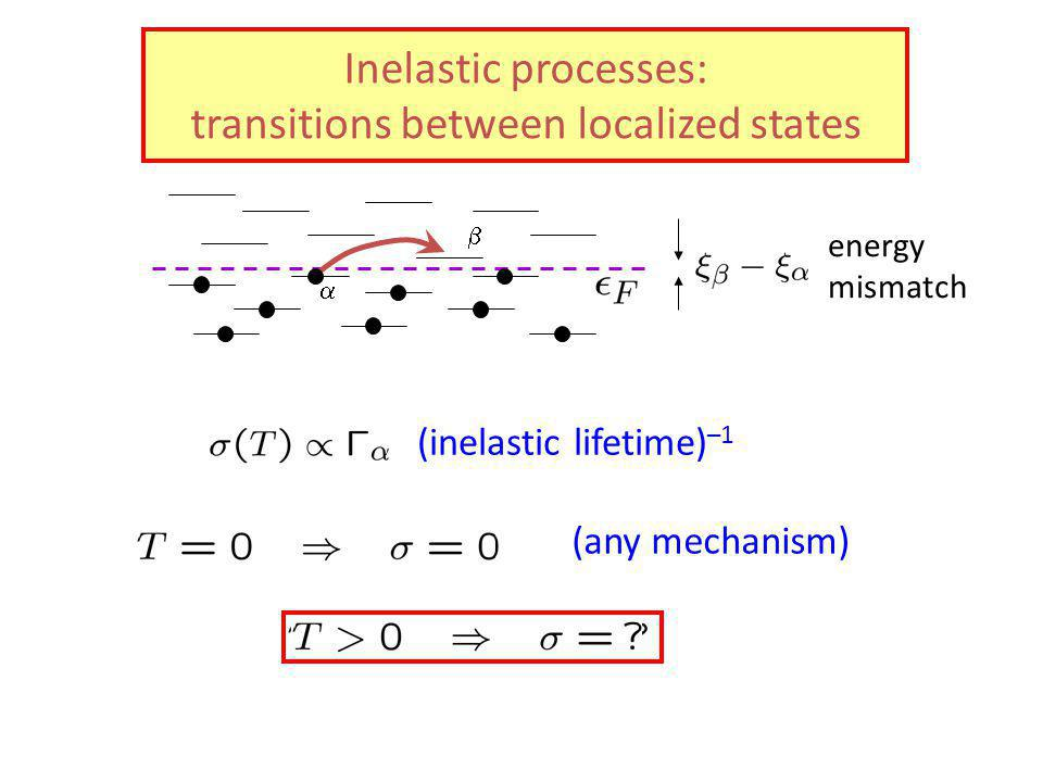 Inelastic processes: transitions between localized states