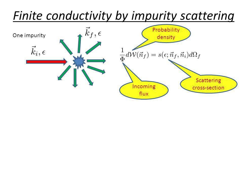 Finite conductivity by impurity scattering