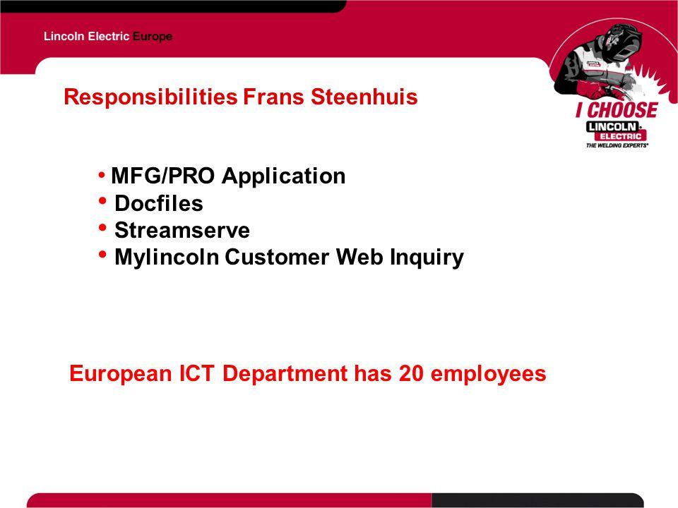 Responsibilities Frans Steenhuis