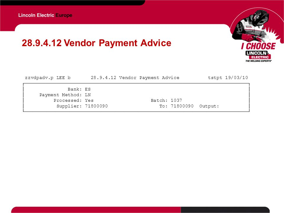 28.9.4.12 Vendor Payment Advice zzvdpadv.p LEE b 28.9.4.12 Vendor Payment Advice tstpt 19/03/10.
