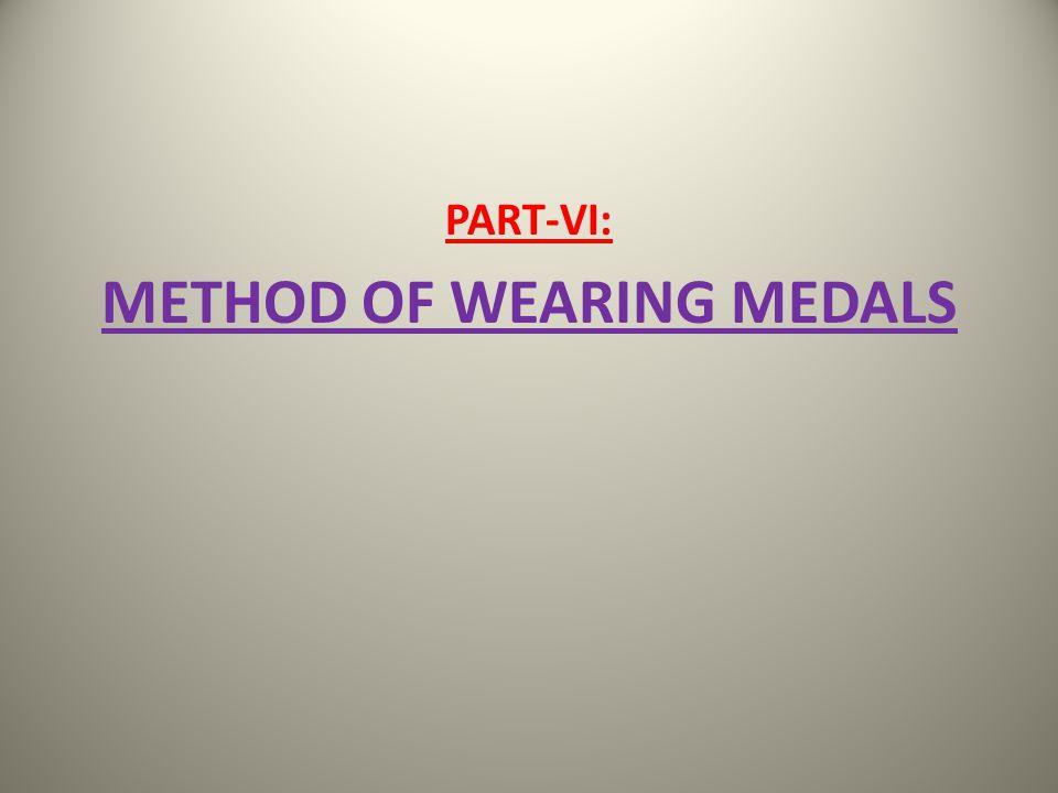 METHOD OF WEARING MEDALS