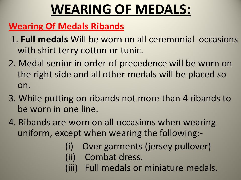 WEARING OF MEDALS: Wearing Of Medals Ribands