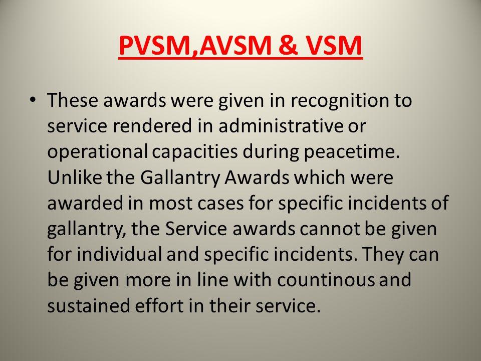 PVSM,AVSM & VSM