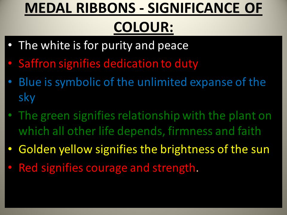MEDAL RIBBONS - SIGNIFICANCE OF COLOUR: