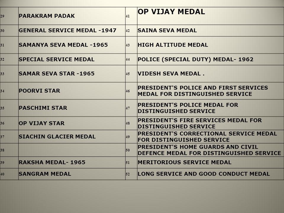 OP VIJAY MEDAL PARAKRAM PADAK GENERAL SERVICE MEDAL -1947