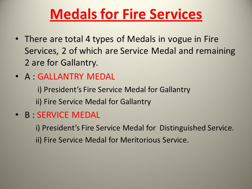 Medals for Fire Services
