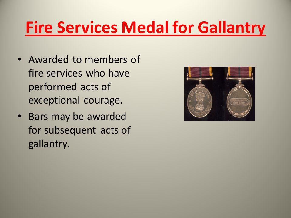 Fire Services Medal for Gallantry