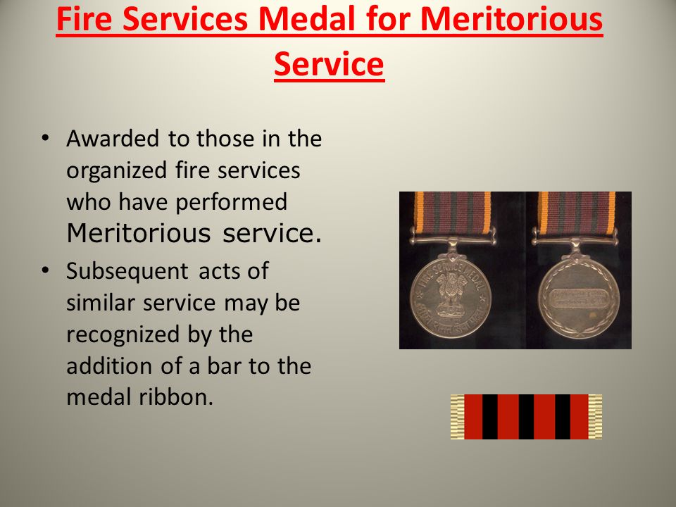 Fire Services Medal for Meritorious Service