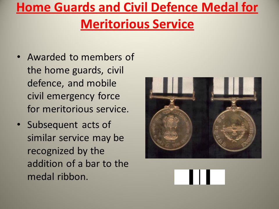 Home Guards and Civil Defence Medal for Meritorious Service