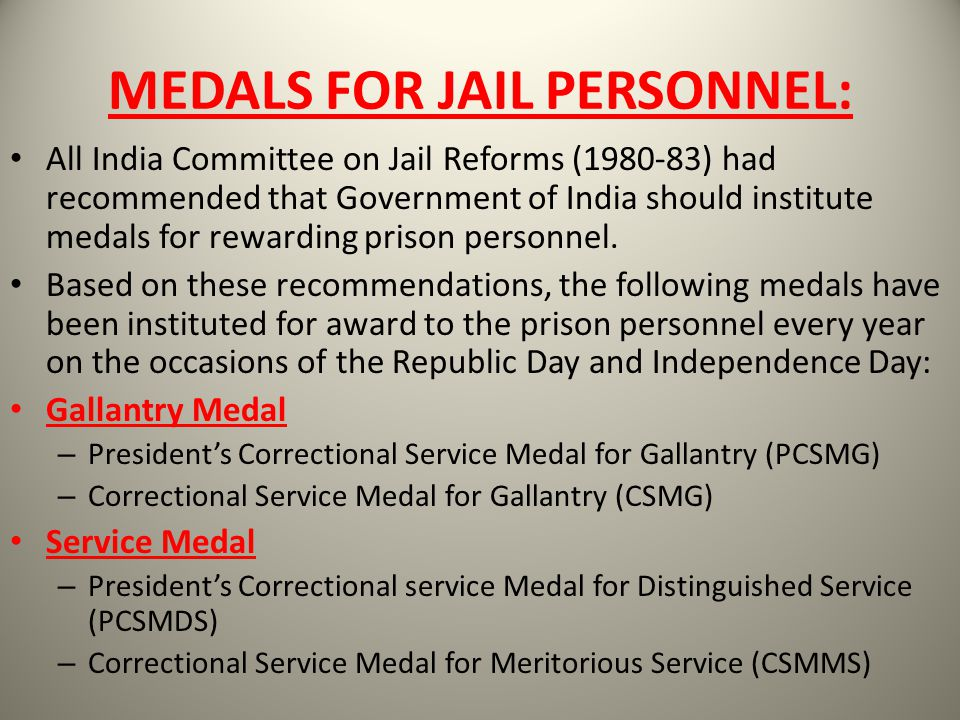 MEDALS FOR JAIL PERSONNEL: