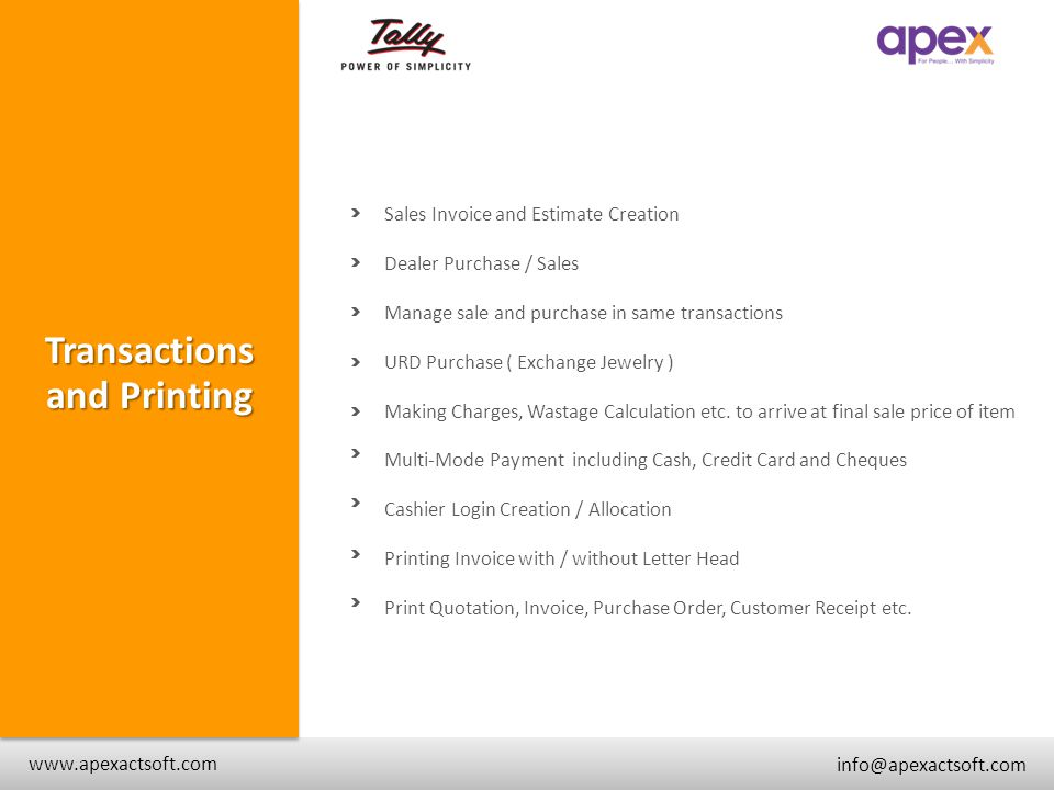 Transactions and Printing