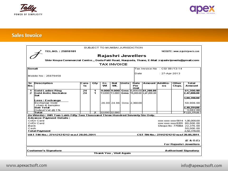 + Sales Invoice + www.apexactsoft.com info@apexactsoft.com