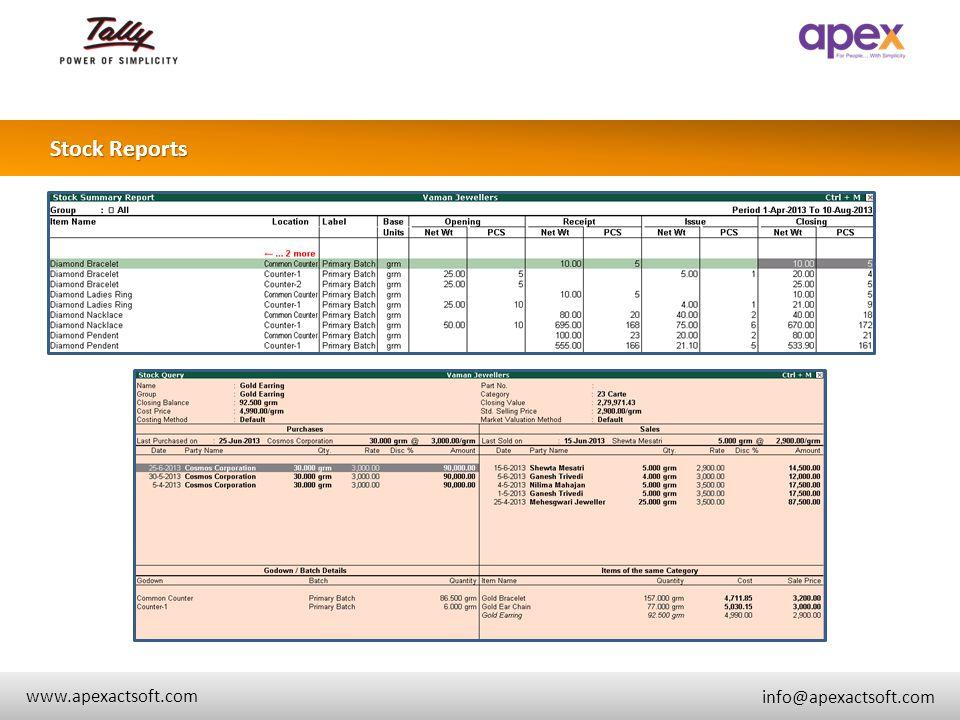 + Stock Reports + www.apexactsoft.com info@apexactsoft.com