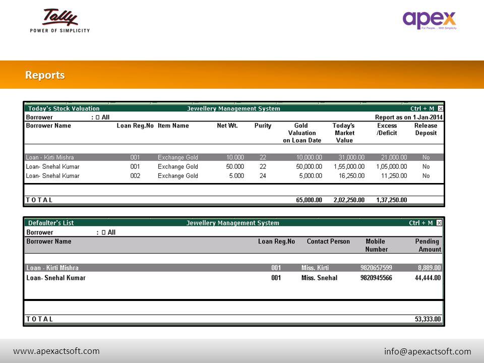 + Reports + www.apexactsoft.com info@apexactsoft.com