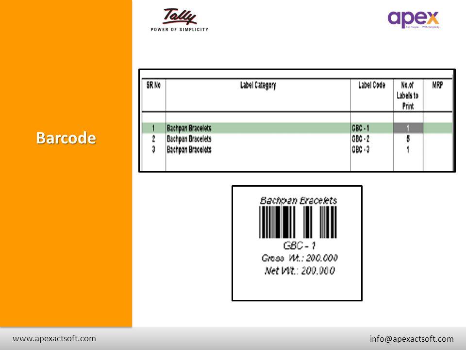 + Barcode + www.apexactsoft.com info@apexactsoft.com