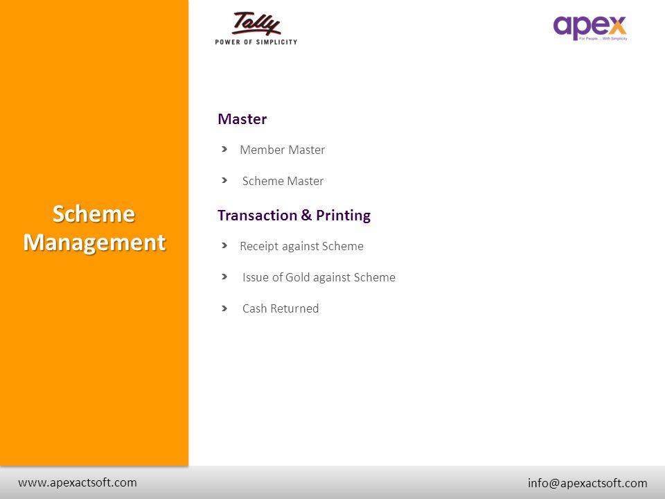 Scheme Management Master + Transaction & Printing + Member Master