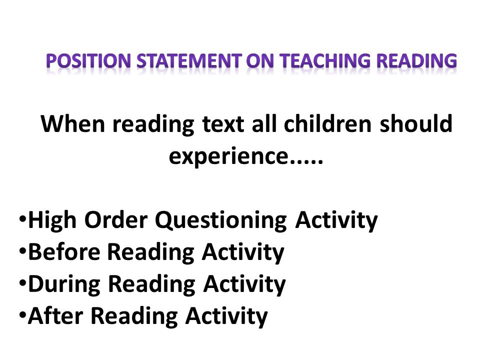When reading text all children should experience.....