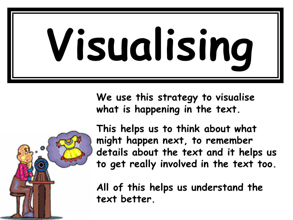 Visualising We use this strategy to visualise what is happening in the text.