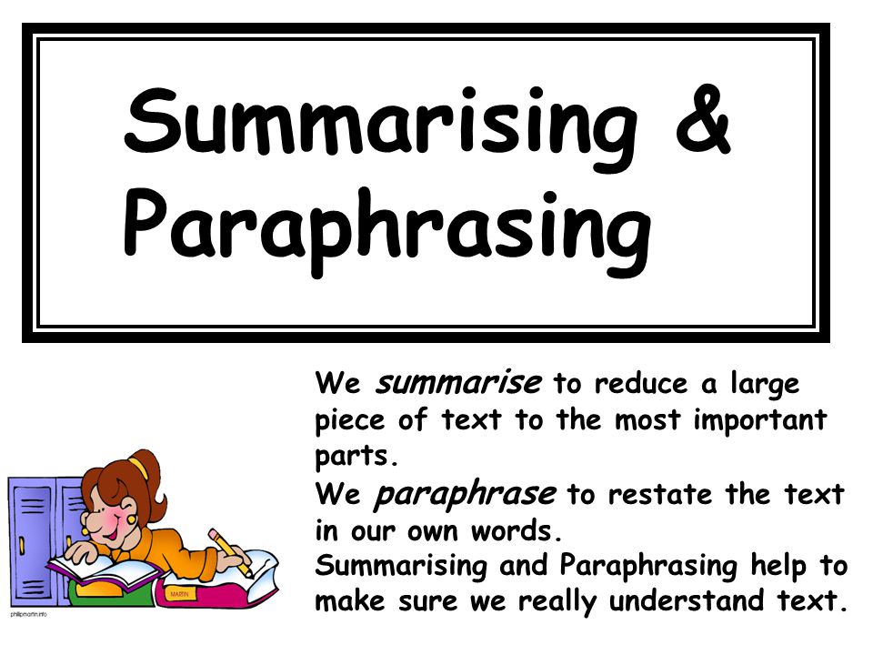 Paraphrasing help our own work