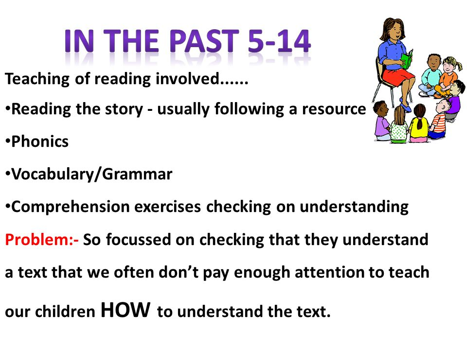 In the Past 5-14 Teaching of reading involved......